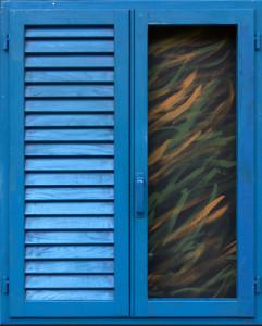 Tano Festa, Persiana blu, 1985, acrilici su legno cm. 100x80
