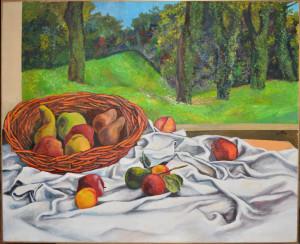 Guttuso - Cesto di frutta con drappo olio su tela - 1984
